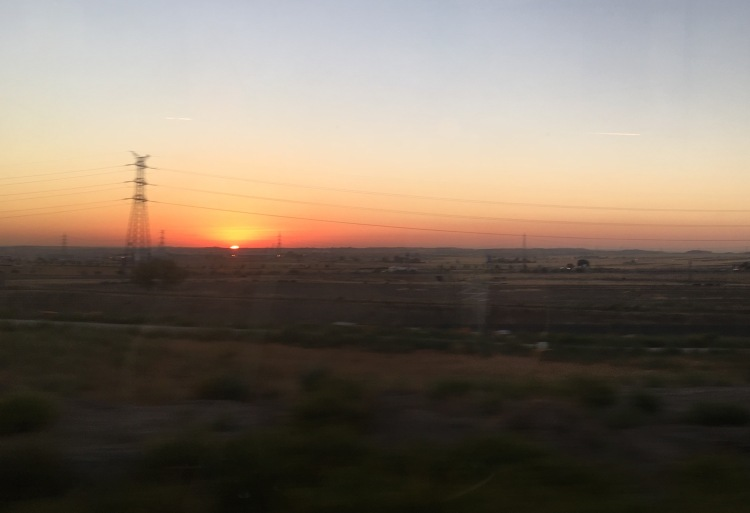 from a train window: sun rising, south of Madrid